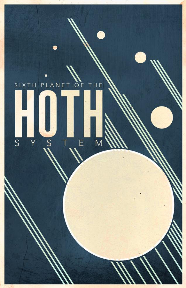 Affiche de voyage Star Wars de style retro pour visiter le système Hoth (design par Justin Van Genderen)