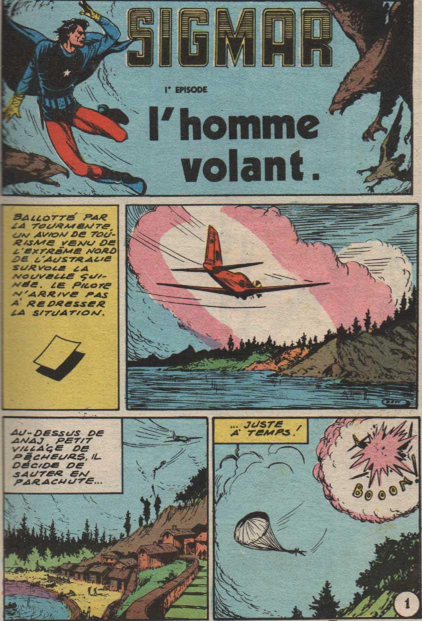 Traduction de « Sigmar, l'uomo volante » dans le pocket Blek des éditions Lug.