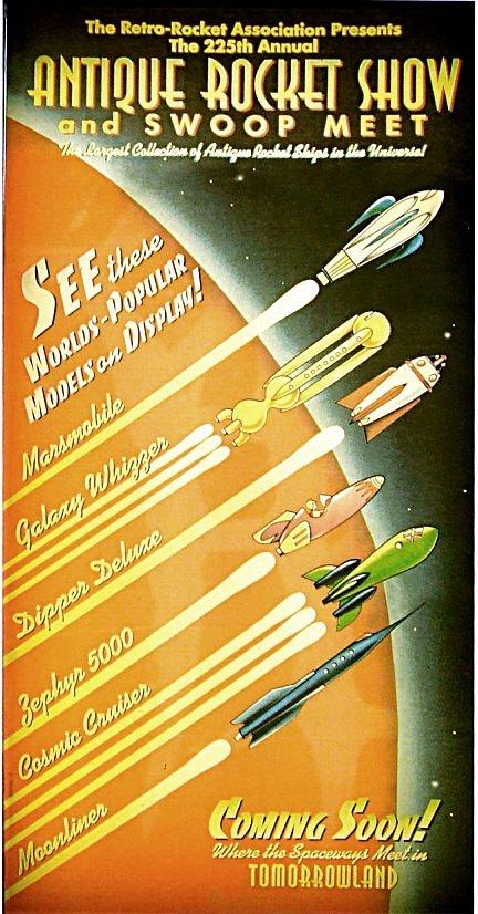 Fausse affiche de meeting aérien, en liaison avec l'univers Disney retro-futuriste de Tomorrowland