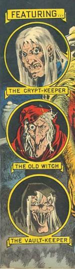 Le gardien du caveau, la vieille sorcière et le gardien de la crypte repris par Davis sur Tales from the Crypt n° 35 (avril/mai 1953).