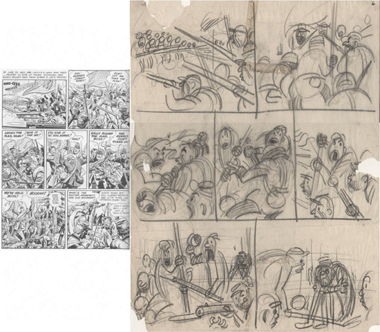 Layouts de Kurtzman pour Davis de Two-Fisted Tales n° 31, page 6.