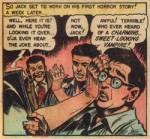 Une case de « Kamen's Kalamity » de Tales from the Crypt n° 31 (septembre 1952), avec, de gauche à droite, Jack Davis, Jack Kamen et Bill Gaines. Dans cette histoire réalisée par Jack Kamen, tous les artistes E.C. se dessinent eux-mêmes.