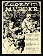 « Screenplay for a Murder » : un picto-roman de Al Feldstein & Jack Davis, page 1, paru dans Crime Illustrated n° 2.