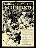 « Screenplay for a Murder » : un picto-roman de Al Feldstein & Jack Davis, page 1, paru dans Crime Illustrated n° 2.