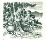 Un dessin illustrant la série « Daniel Boone » pour TV Guide (1965).