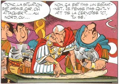 Pierre Tchernia caricaturé par Albert Uderzo dans « Astérix légionnaire ».