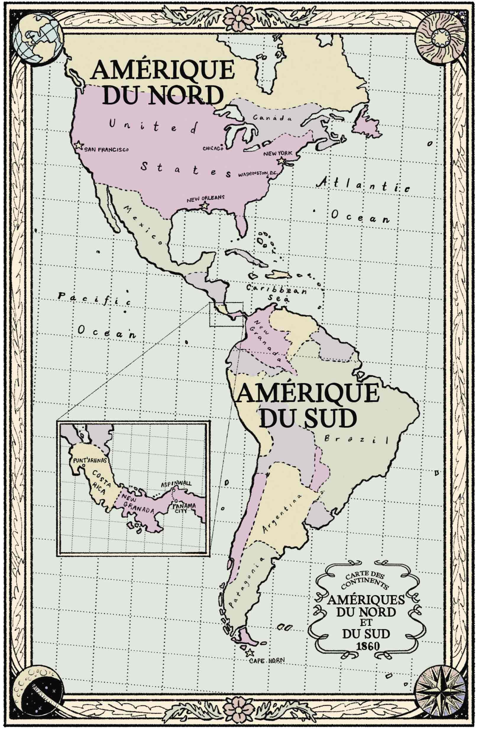 Carte Amérique 1860