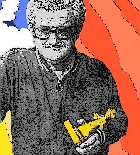 Antonio Hernández Palacios recevant le Yellow Kid du meilleur dessinateur au festival de Lucca, en 1974.