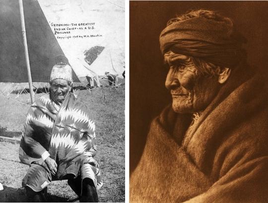 Photo par W.H. Martin de Geronimo prisonnier en 1905 ( Library of Congress) - Photo par Edward S. Curtis de Geronimo à Carlisle (Pennsylvanie) en 1905