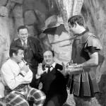 Avec Lino Ventura, Jean Yanne et Goscinny sur le tournage de « Deux Romains en Gaule ». Source INA.