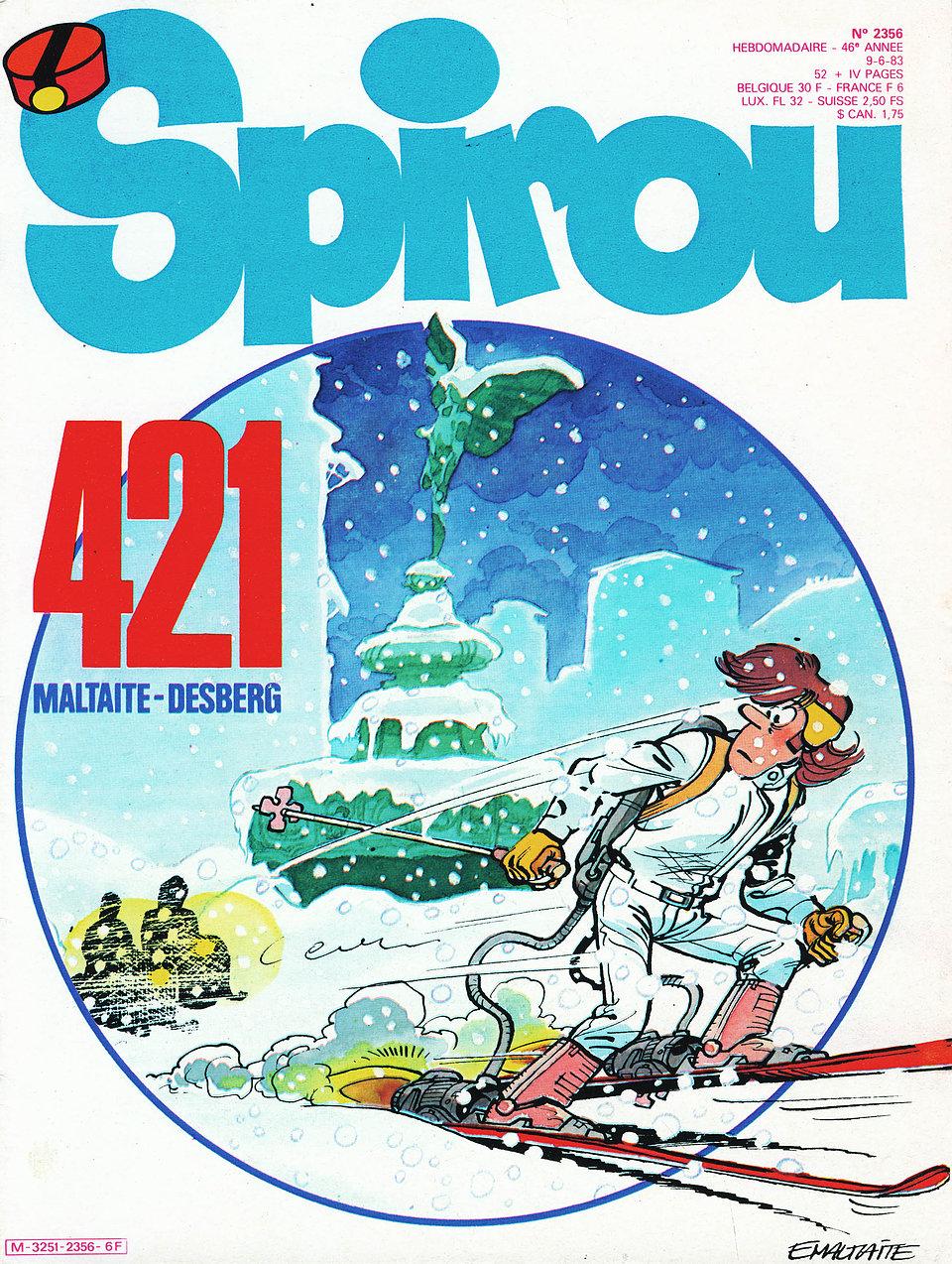 """""""Guerre froide"""" annoncée en couverture de Spirou n°2356 du 9 juin 1983 : publiée après """"Bons baisers du 7ème ciel"""", cette aventure deviendra pourtant... le tome 1 de la série en octobre 1984 !"""