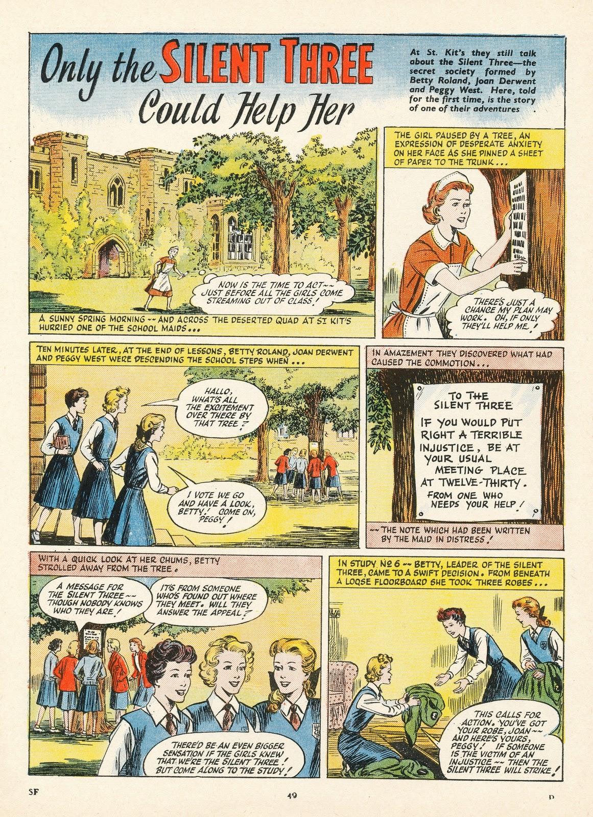 Une bande dessinée d'Evelyn Flinders publiée dans School Friend en Grande-Bretagne.