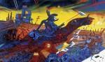 « Nouvelles Technologies », 1985-1986, huile sur toile commandée par le CIBDI d'Angoulême, 180x300cm. Crédits : © Philippe Druillet.