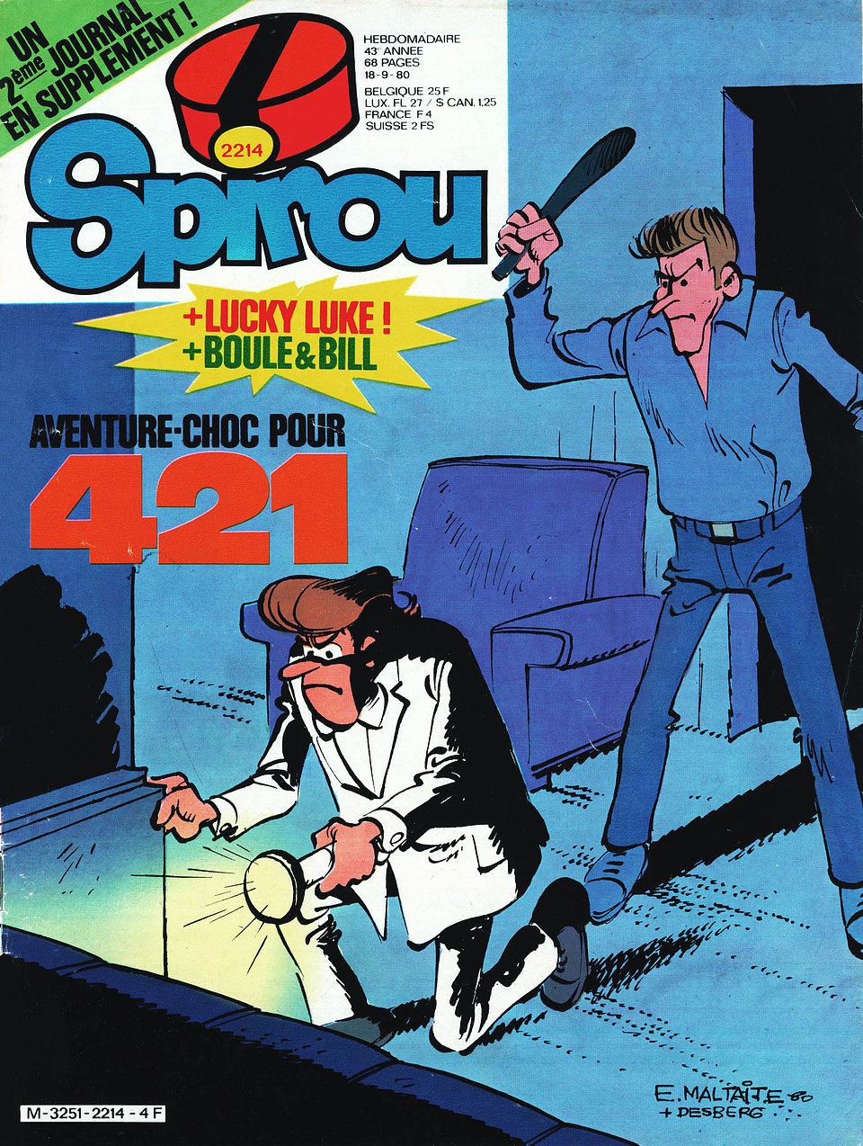 """Couverture de Spirou n°2214 (18 septembre 1980), signée Will, et première planche de """"L'épave et les millions"""", non reprise en album."""