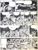 Une planche originale du « Barbe-Rouge » de Jijé et Lorg (« Raid sur la Corne d'or »).
