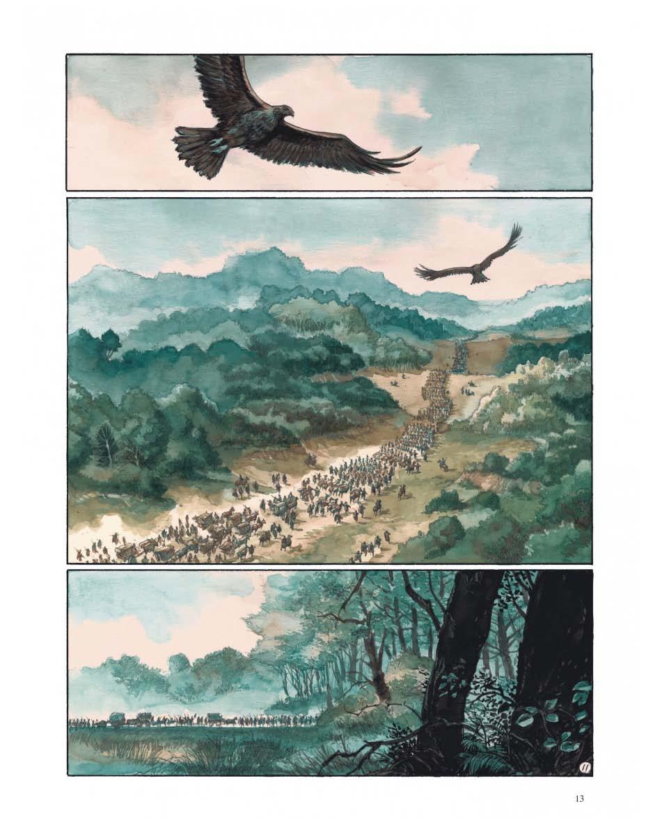 Le destin incertain des légions... (planches 11 et 34 extraites du tome 5 ; Dargaud 2016)