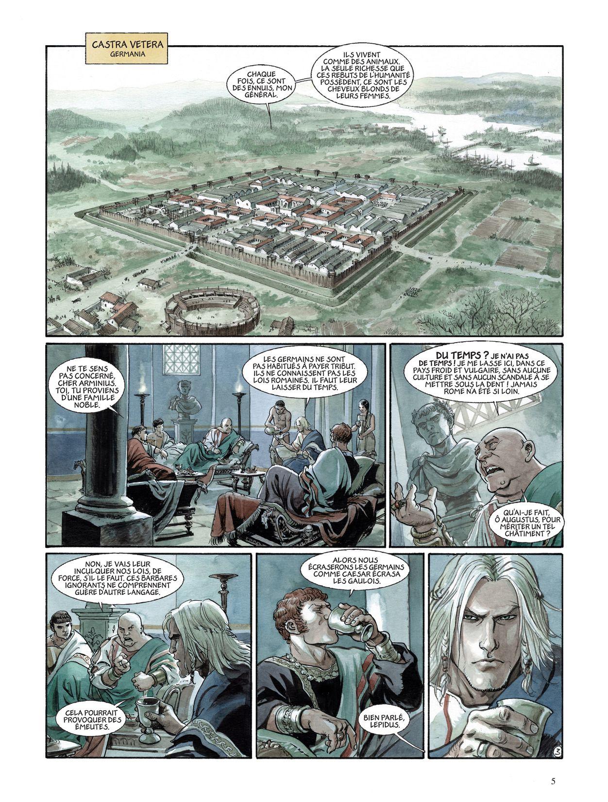 Reconstitution du camp Castra Vetera I, érigé en 13 av. J.-C. par le général romain  Drusus au confluent de la Lippe et du Rhin.  Planche 3 du tome 3 (Dargaud - 2011)