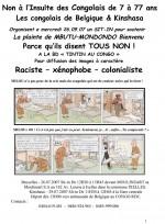 Exemple de tract contre « Tintin au Congo » distribué par les manifestants à Bruxelles.