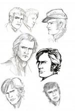 Crayonnés pour le personnage principal et divers militaires