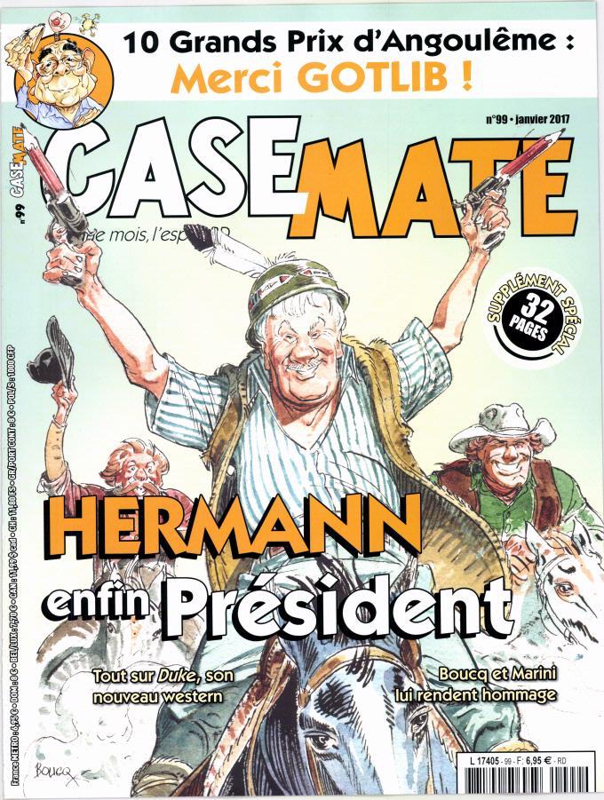 Hermann, président ! Couverture de Casemate n°99 (janvier 2017) reprenant un dessin hommage de Boucq réalisé en janvier 2016