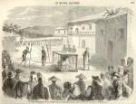 Tortures subies par le R. P. Chapedelaine, missionnaire en Chine, martyrisé dans la province de Quang-si (Le Monde illustré n°46, p. 134, le 20 février 1858).