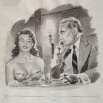 Dessin original au lavis pour La Vie parisienne, vers 1955.