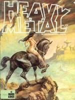 Une couverture kitch de Heavy Metal (V.1 n° 10, 1978), avec « des filles de calendrier sur des chevaux », selon l'expression de Dionnet.