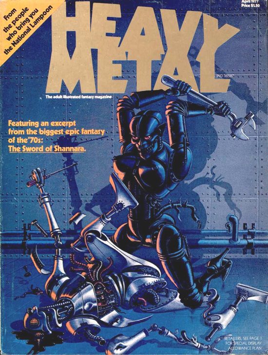 Couverture de Heavy Metal 1 (avril 1977) par Jean-Michel Nicollet.
