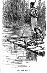 """Huckleberry Finn et Jim sur leur radeau, par E.W. Kemble (Gravure extraite de l'édition 1884 des """"Aventures de Huckleberry Finn"""" par Mark Twain)"""