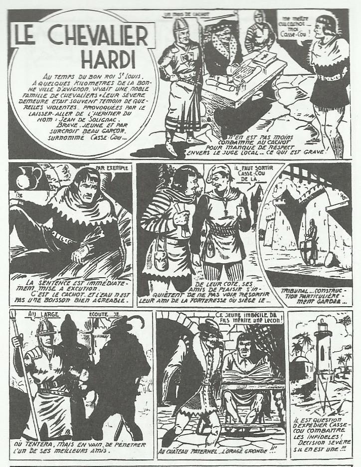 Raoul Giordan dans Casse cou : première page (sur dix-sept) du « Chevalier Hardi », en 1950.