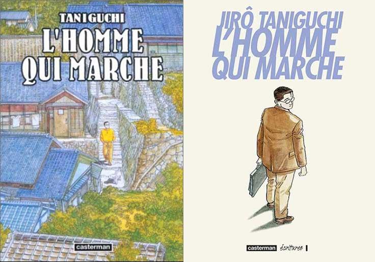 Les deux éditions de «L'homme qui marche».