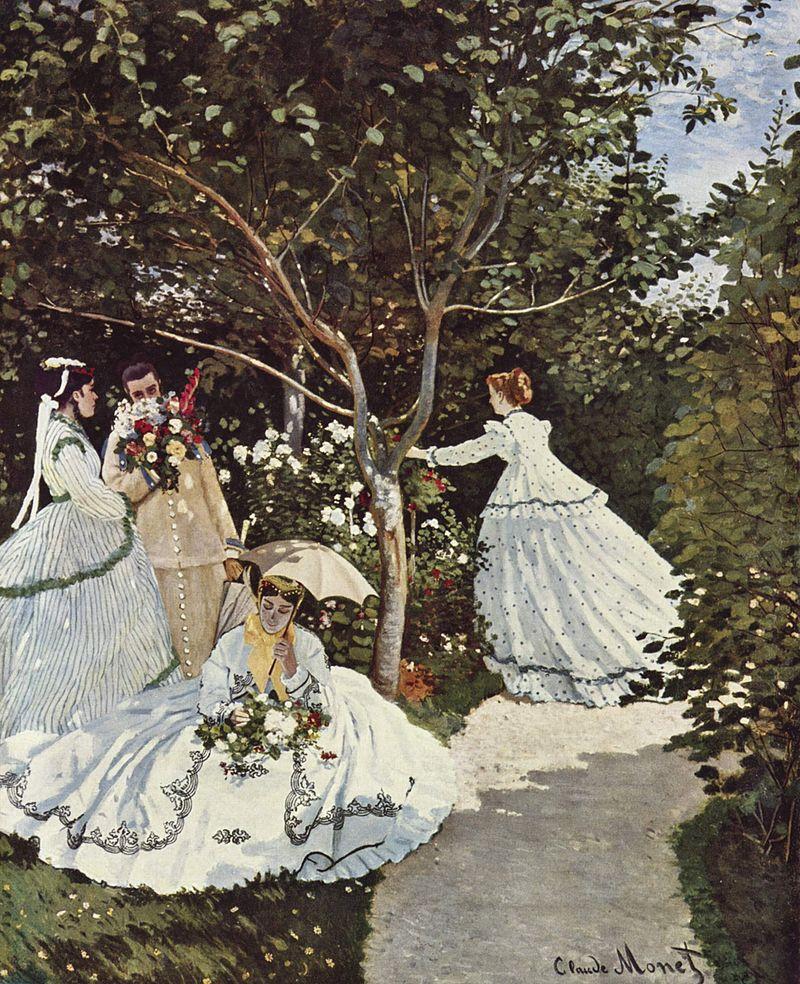 """Femmes au jardin (1866) : Camille Doncieux, """"muse"""" de Monet, posera pour trois des personnages féminins."""
