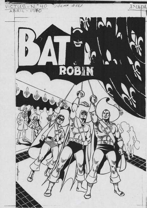 Batman Robin et Superman en mousquetaires Projet de couverture pour le magazine Victus Transparent sur film acetate Bresil 1970