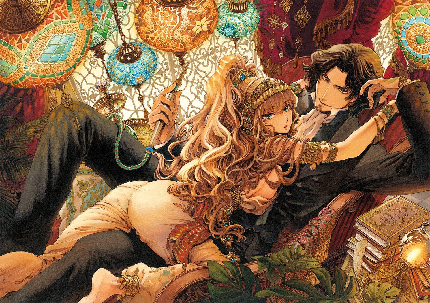 Le manga s'ouvre sur une page couleur extrêmement  suggestive montrant Edmond Dantés en compagnie de son esclave orientale, Haydée dans une  posture suggestive, en total décalage avec l'image que l'on peut avoir d'un conte vieux de deux siècles.