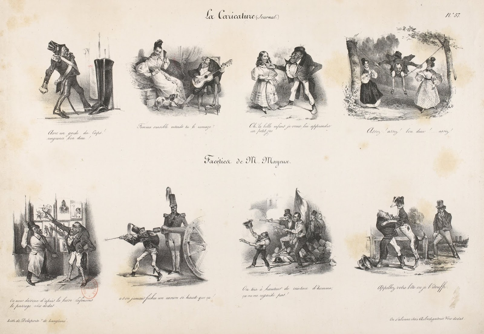 Suites d'illustrations narratives par Jules David dans La Caricature, en 1831.