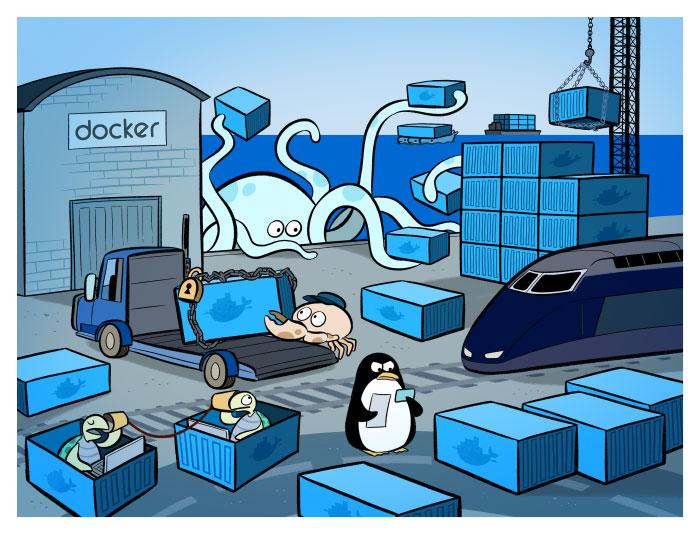 Un dessin, parmi tant d'autres, résumant les activités de Docker.