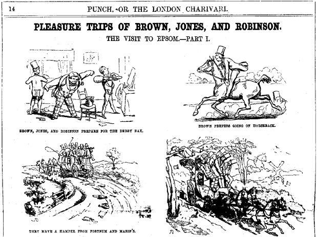 « Pleasure Trips of Brown, Jones, and Robinson » par Richard Doyle, dans Punch (Grande-Bretagne).