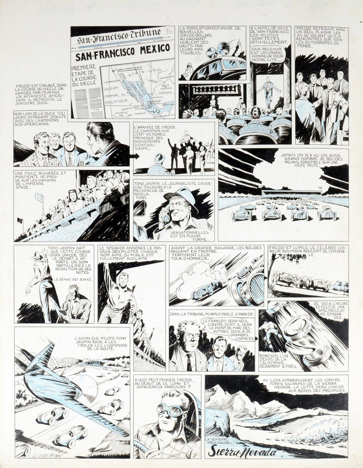 Planche originale d'«Hourrah Freddi ! » de Claude-Henri Juillard, parue dans le n° 164 de Vaillant, en 1948.