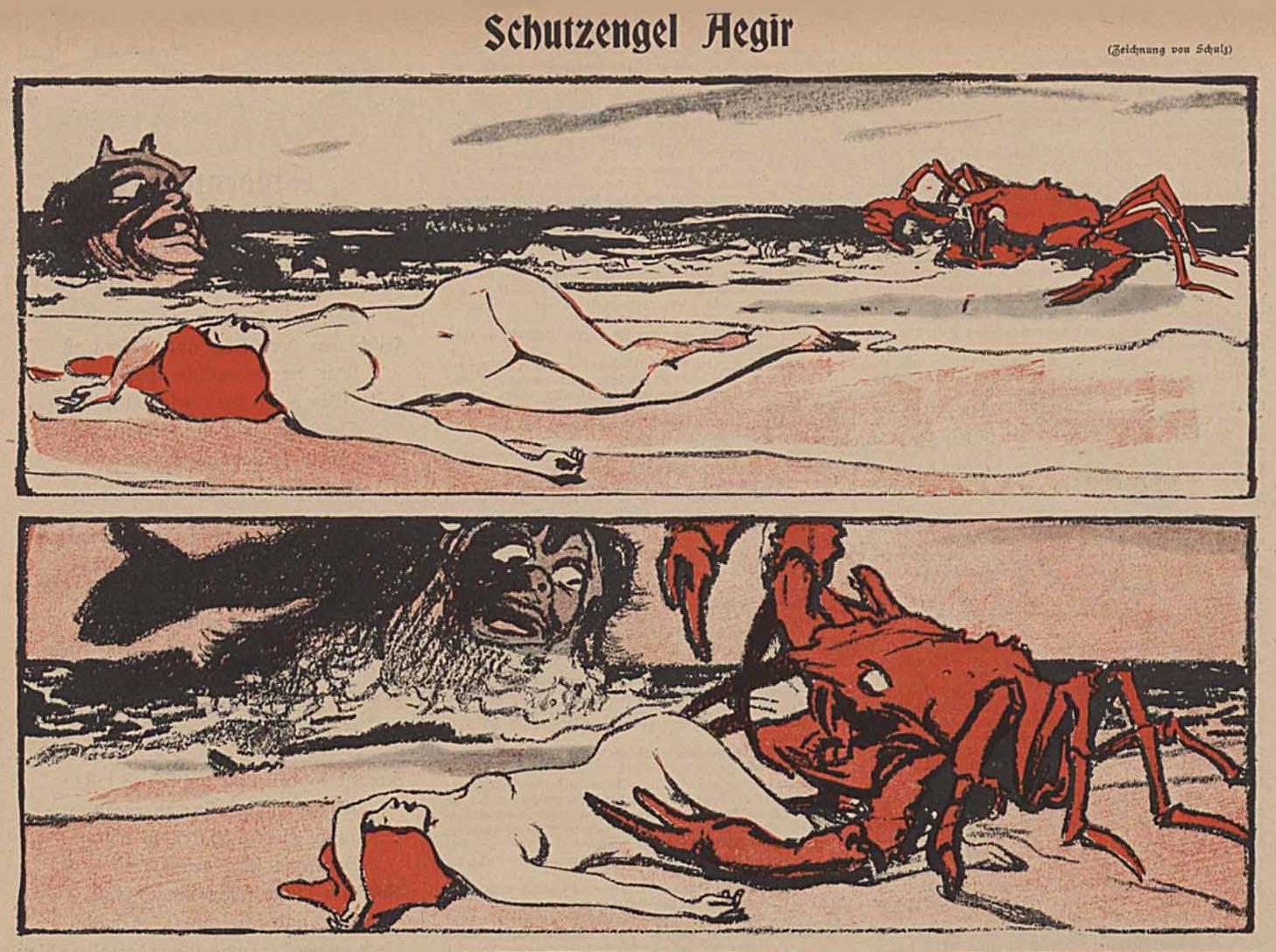 Une histoire muette en images par Wilhelm Schulz, dans Simplicissimus.