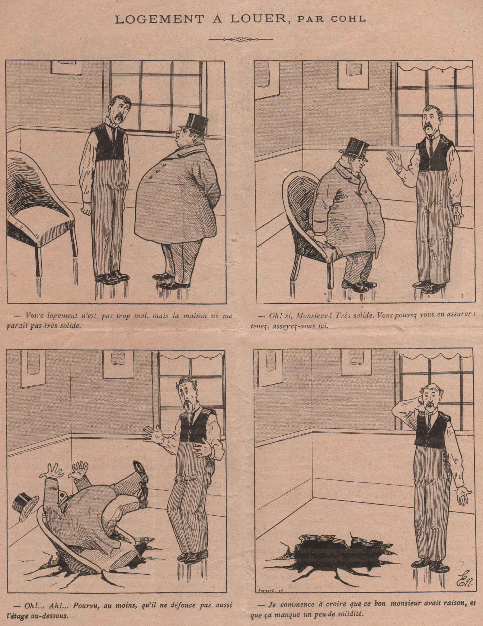 Une séquence dessinée par Émile Cohl, dans Polichinelle.