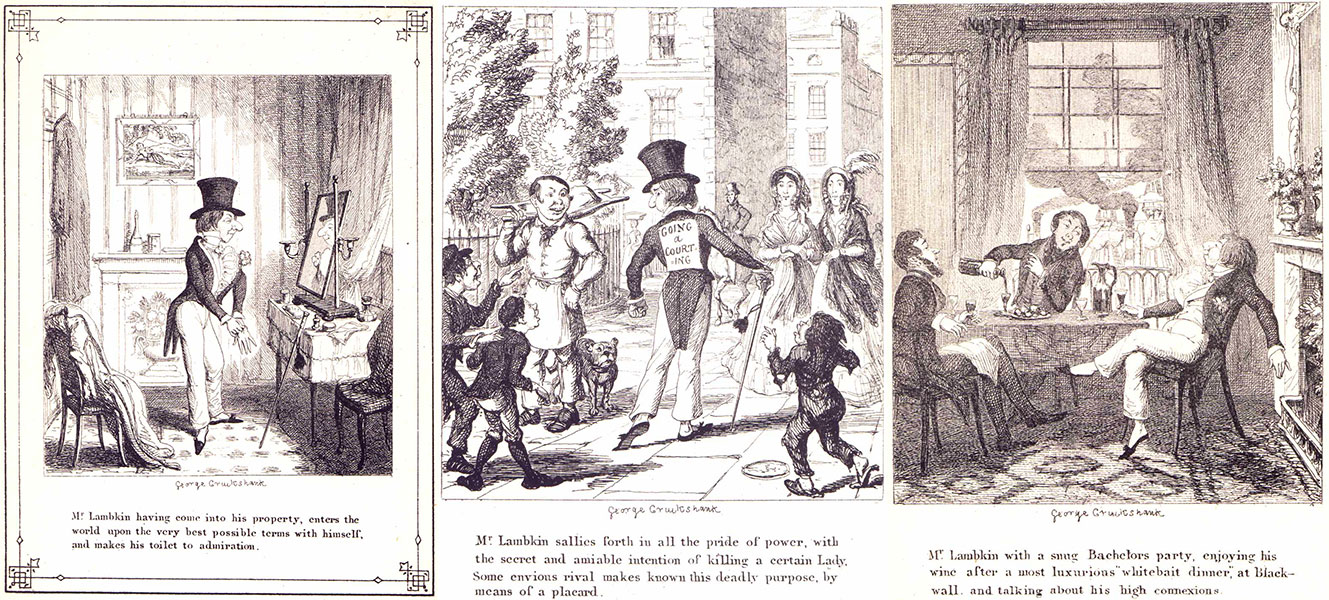 « The Progress of Mr. Lambkin » par George Cruikshank.