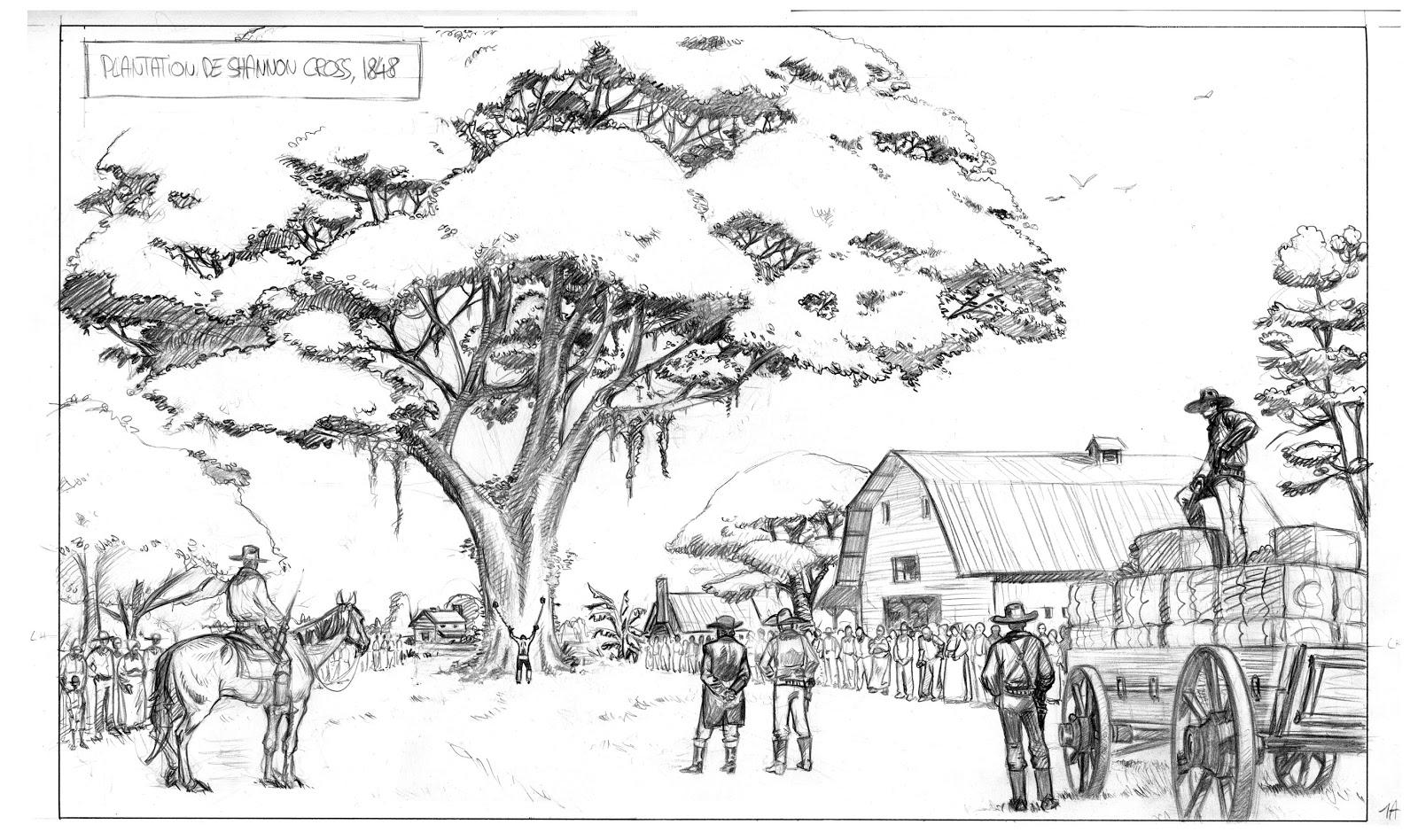 Crayonné pour la scène d'ouverture de l'album et planche finalisée (Bamboo 2017)
