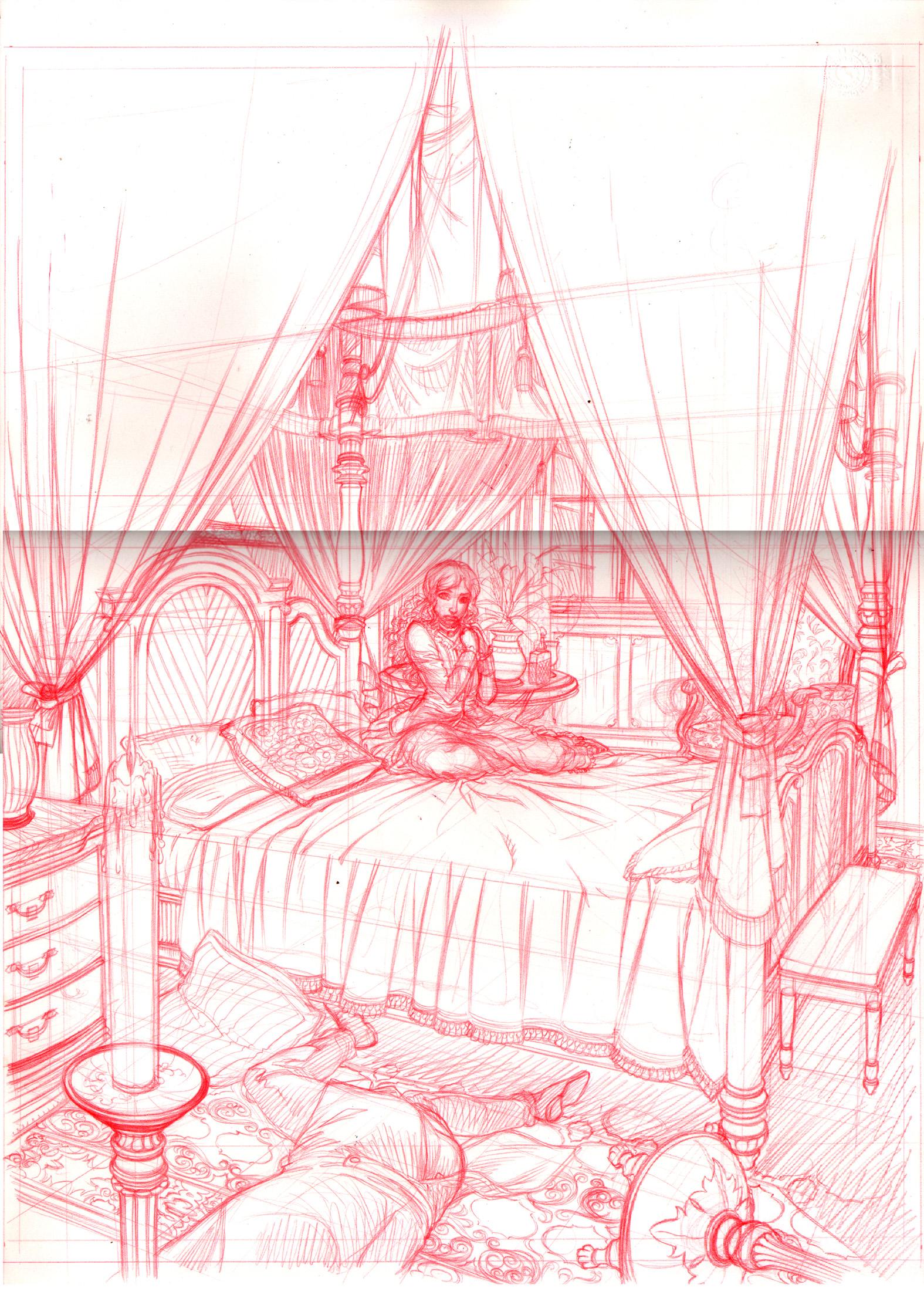 Crayonné pour la version définitive de la couverture du tome 2