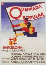 Affiche et sportifs des Olympiades populaires de Barcelone