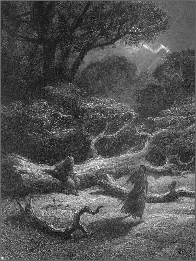 "Viviane et Merlin (gravure de Gustave Doré pour ""Idylls of the King"" (Lord Alfred Tennyson , 1868)"