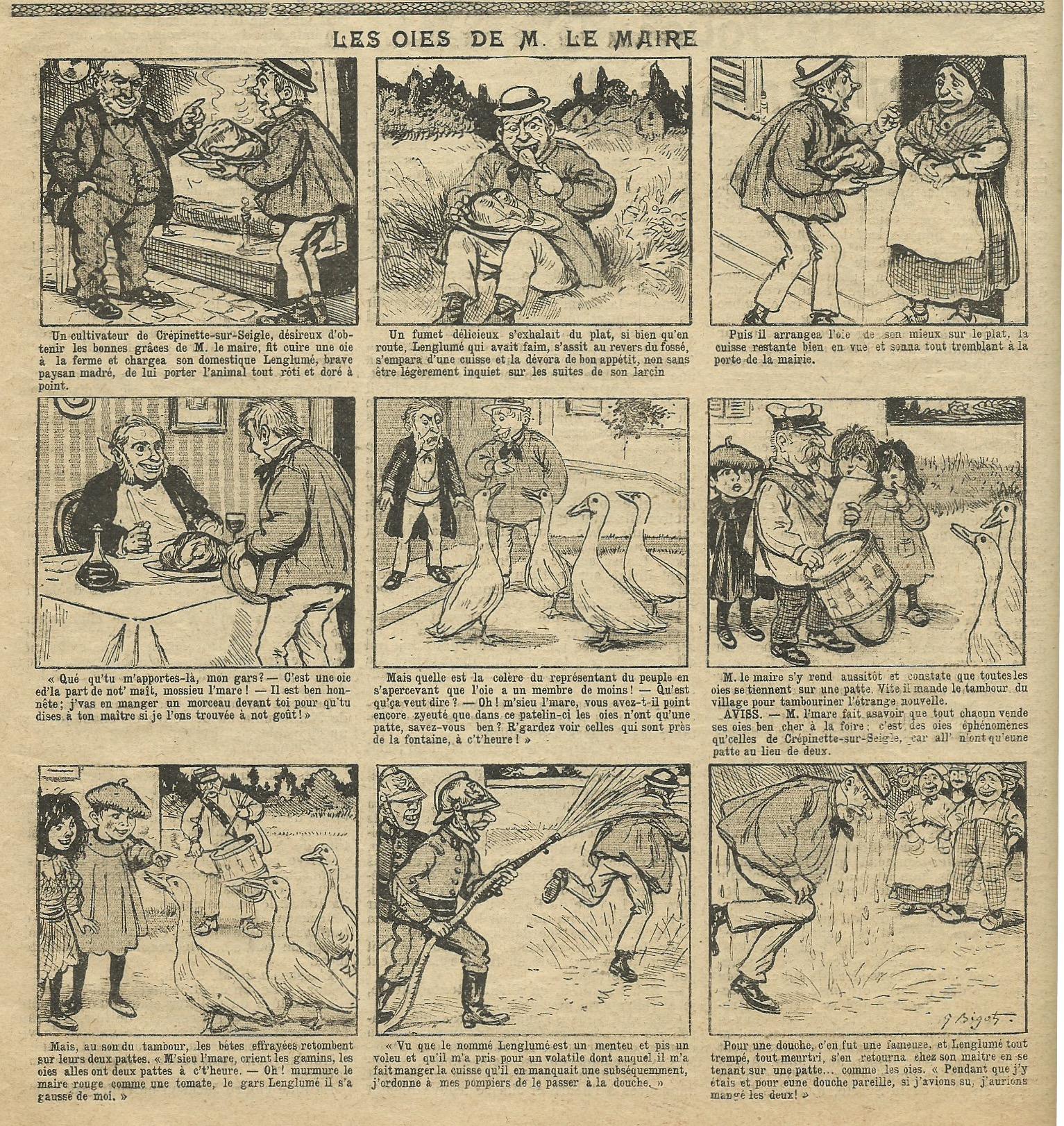 L'une des histoires en images illustrées par Georges Bigot.