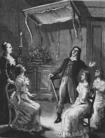 Lévitation d'une table par les soeurs Fox (gravure de 1850)