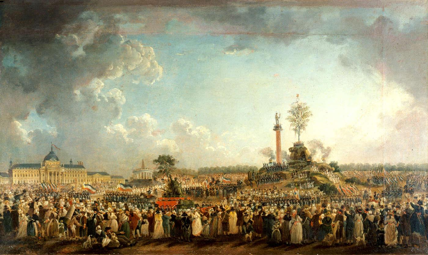 Fête de l'Être suprême au Champ de Mars, le 20 prairial an II, toile de Pierre-Antoine Demachy en 1794 (Musée Carnavalet, Paris).