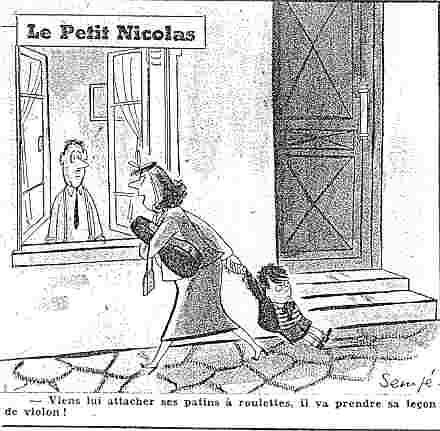 Dessin-gag avec Le Petit Nicolas » dans Le Moustique, en 1954.