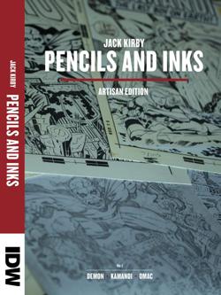 L'ouvrage « Jack Kirby, Pencils and Inks », présentant en vis-à-vis des planches crayonnées et encrées des années soixante-dix.